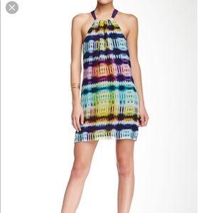 Trina Turk purple multi color silk summer dress 10